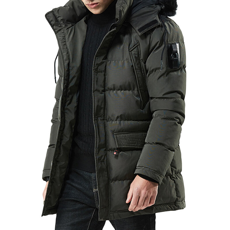 b06f5759cef Mens Winter Plus Thick Warm Detachable Fluffy Hood Windproof Outdoor Parka  Padded Jacket