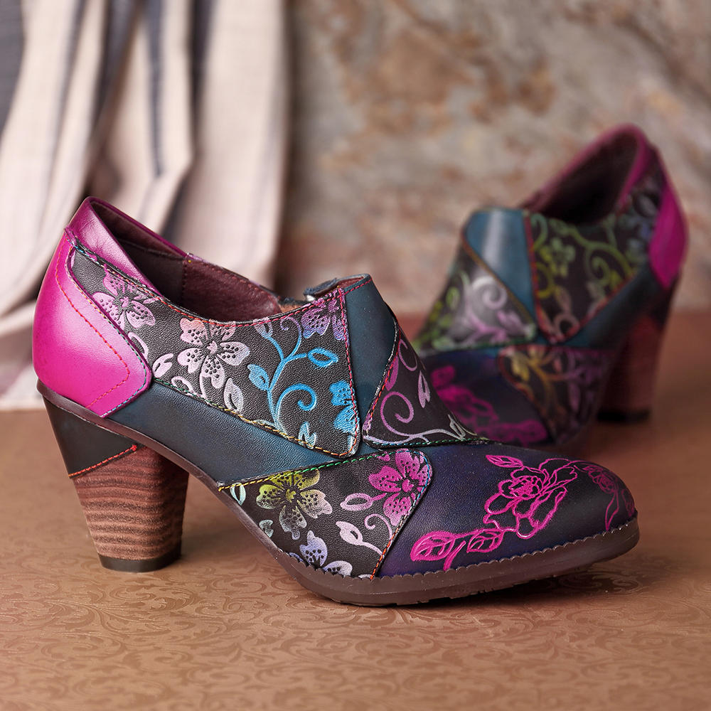 SOCOFY Handmade Printing Pattern Leather Zipper Chunky Heel Pumps - 10