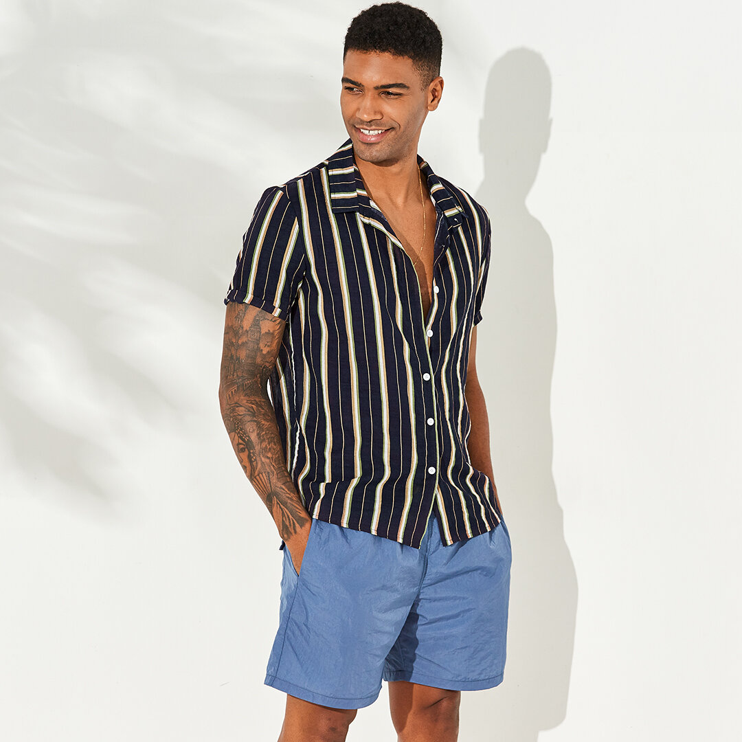 Mens Vertical Striped Summer Short Sleeve Casual Fashion Shirts - 8