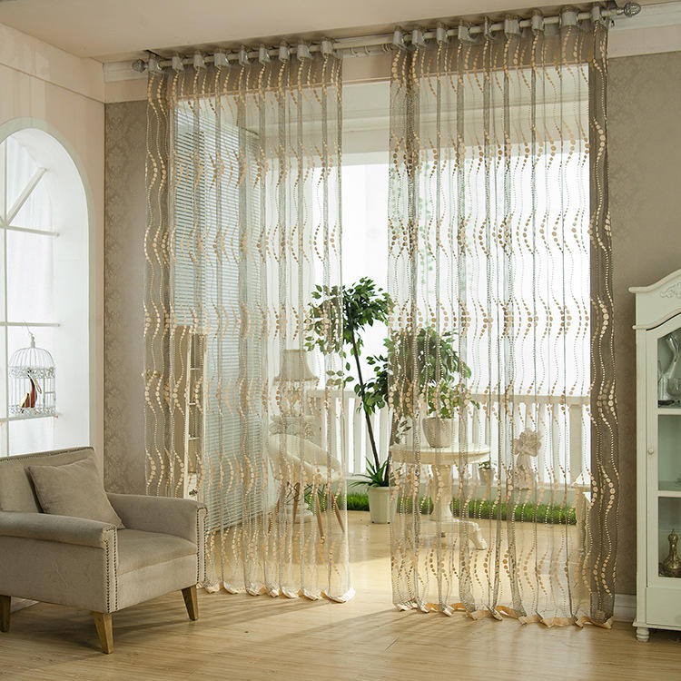 2 panel breathable hollow out window screening sheer curtains ...