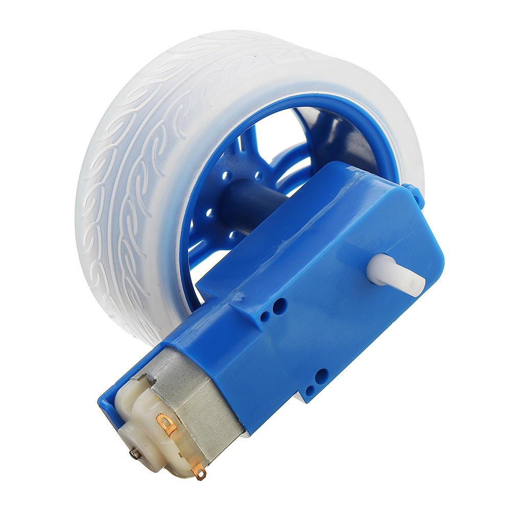 10Pcs Blue Rubber Wheels + 3-6v TT Motors DIY Kit For Arduino Smart Chassis  Car Accessories