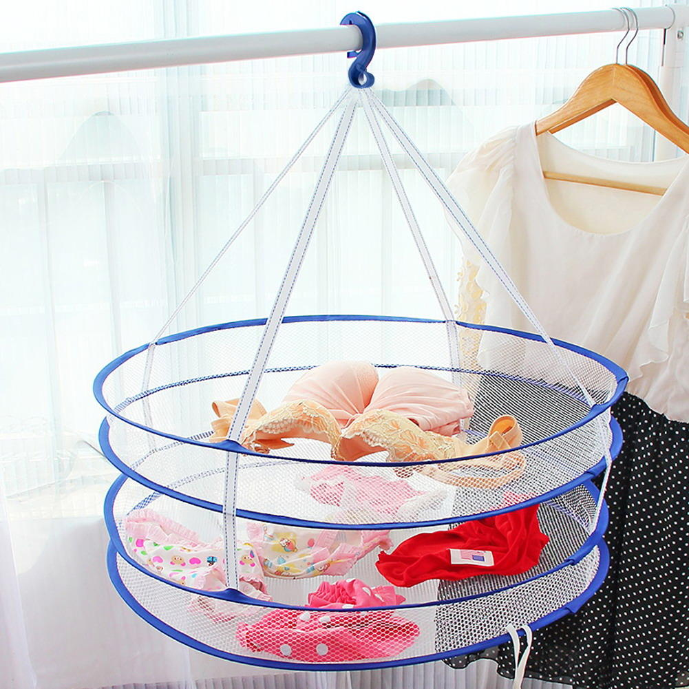 2 Layers Clothes Drying Rack Drying Laundry Bag Folding Hanging Hanger Clothes Laundry Basket - 2