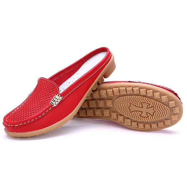US Size 5 10 New Women Casual Fashion Breathable Round Toe Slip On Leather Flat Sandals Shoes - 2