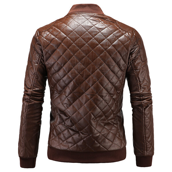 Mens Casual Stand Collar Thick Warm Leather Jacket - 2
