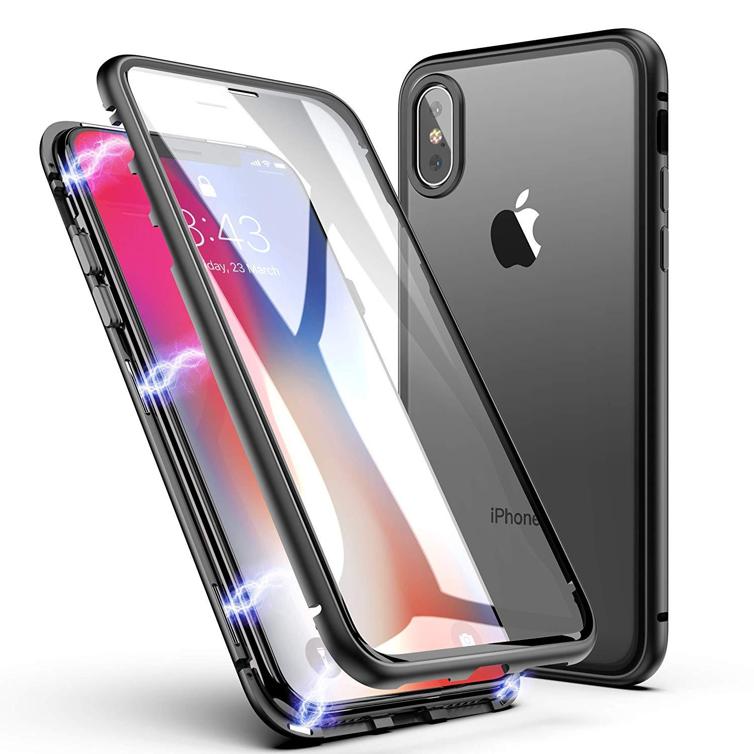 best loved 7cf49 9bc3d Bakeey 360º Full Body Magnetic Adsorption Aluminum+Front & Back Glass  Protective Case For iPhone X/XS/XS Max/8/8 Plus/7/7 Plus