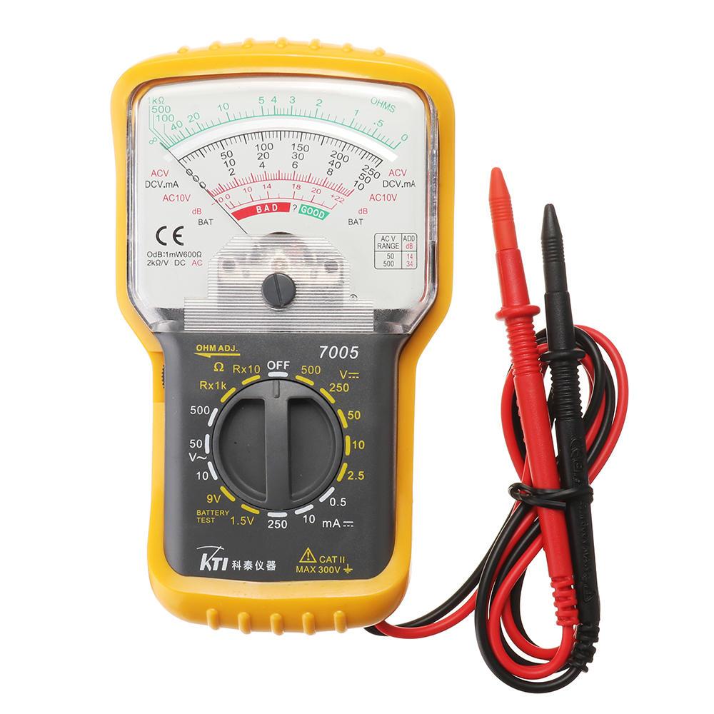 KT7005 Analog multimeter Inbyggd testledning med skyddsfodral Handhållen pekare Multimeter AC / DC spänning DC Strömt Ba