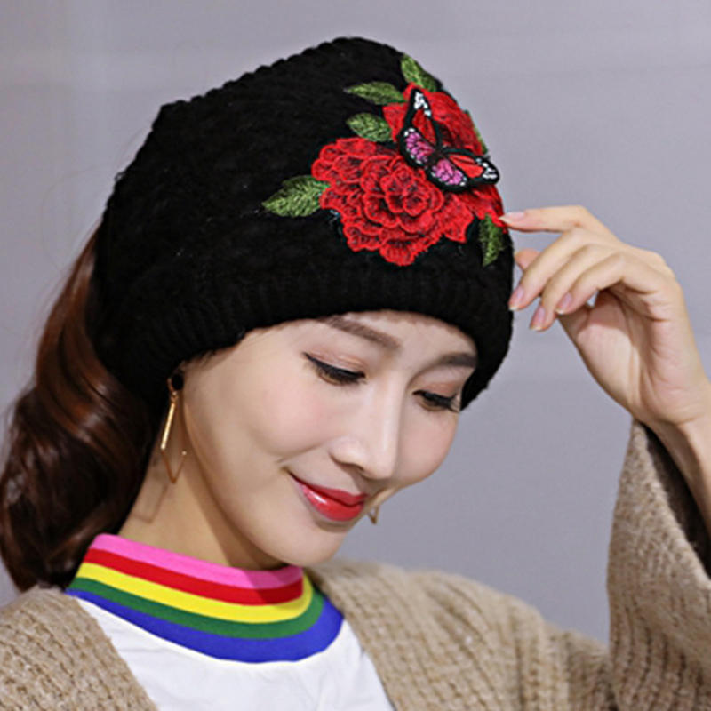 Women's Ethnic Red Peony Embroidery Hair Band Cap Scarf Warm Knitted Ponytail Headband Hat - 1