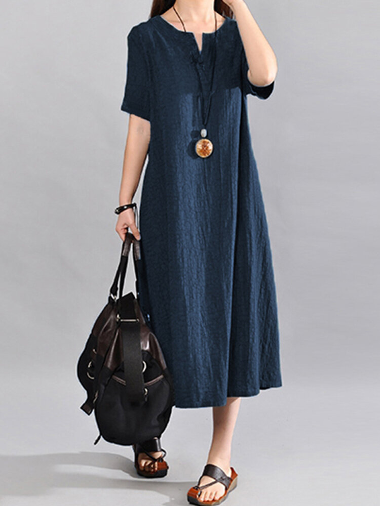 Women Vintage V Neck Short Sleeve Cotton Maxi Dress
