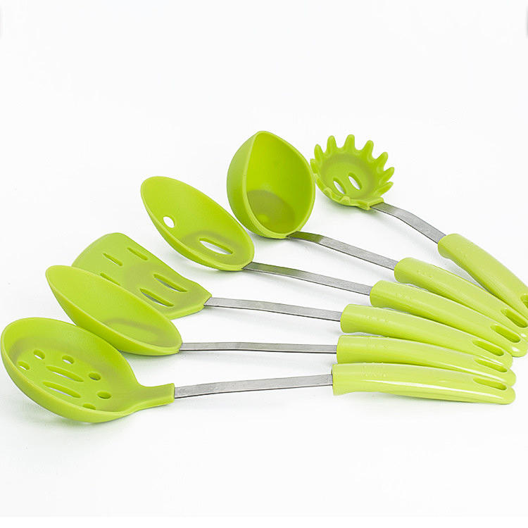 6 Pieces Stainless Steel Silicone Cooking Utensil Set with Premium Stand Cooking Spoon Spatula Soup Ladle Strainer Kitchen Supplies - 3
