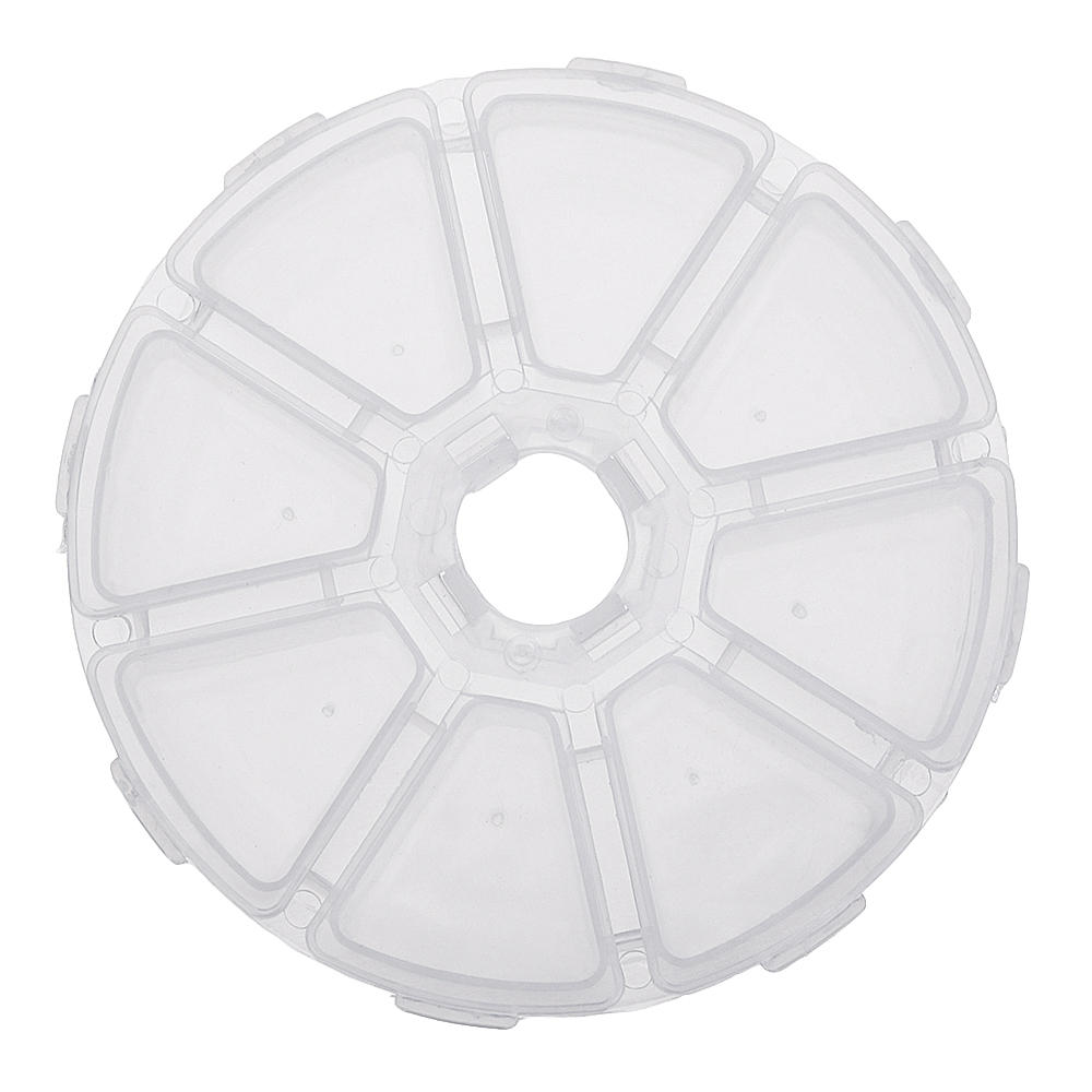 Round 8 Compartment Box 10cm Clear Bead DIY Craft Jewelry Parts Storage Organizer Container Case, Banggood  - buy with discount