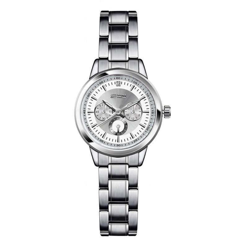 SINOBI 9285 Elegant  Women Wrist Watch Silver Case Besi tahan karat Strap Kuarsa Watches