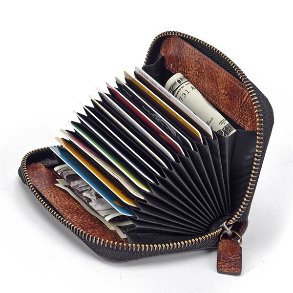 RFID Blocking Vintage Genuine Leather 12 Card Slots Wallet Card Holder For Men