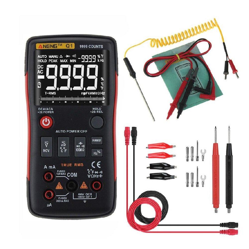 ANENG Q1 9999 Đếm RMS số RMS kỹ thuật số thực DC Điện áp hiện tại Điện trở điện dung Kiểm tra nhiệt độ Tự động / Hướng dẫn sử dụng với đồ thị thanh analog