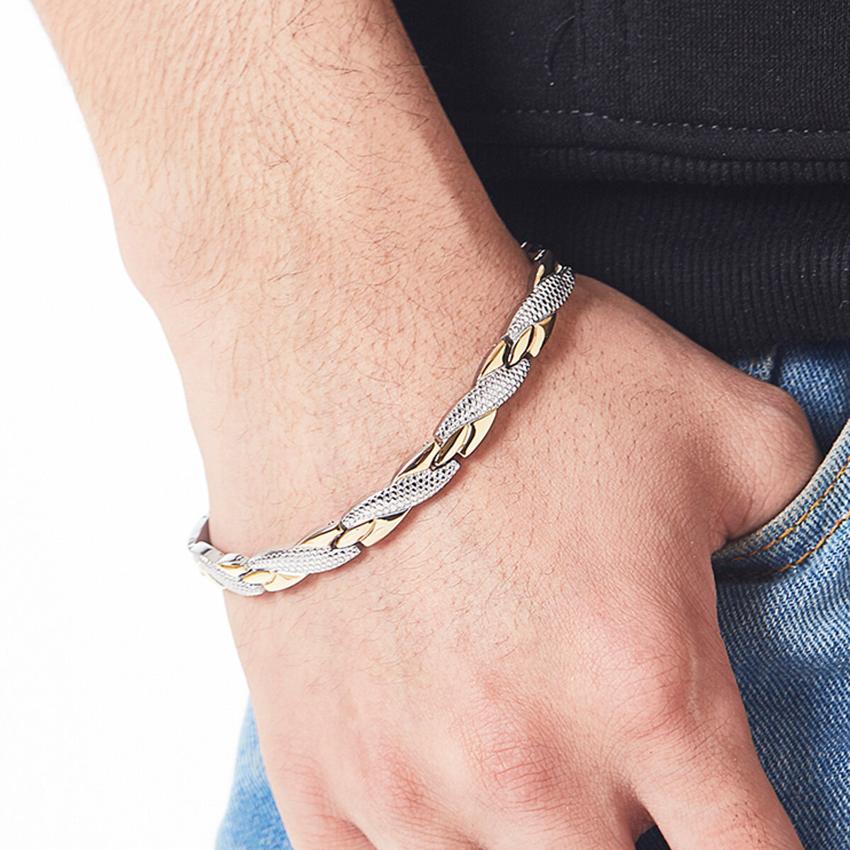 Fashion Magnetic Therapy Single Row Bracelet For Men Stainless Steel Silver Gold Chain Bracelet - 2