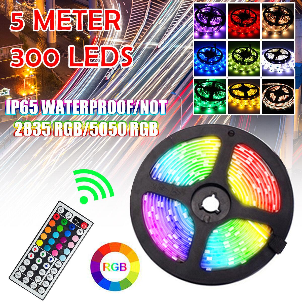 5M 2835/5050 Waterproof/Non-Waterproof RGB LED Strip Light + 44 Keys Remote Control + Power Adapter, Banggood  - buy with discount