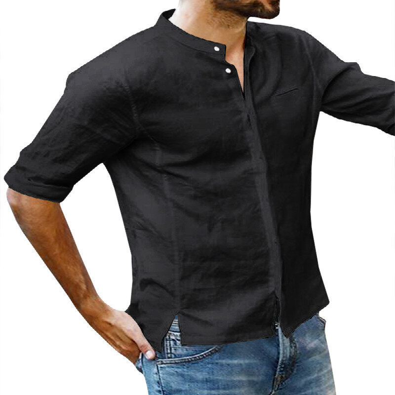 Mens Cotton 3/4 Sleeve Missing Buttons Band Collar Shirts - 1