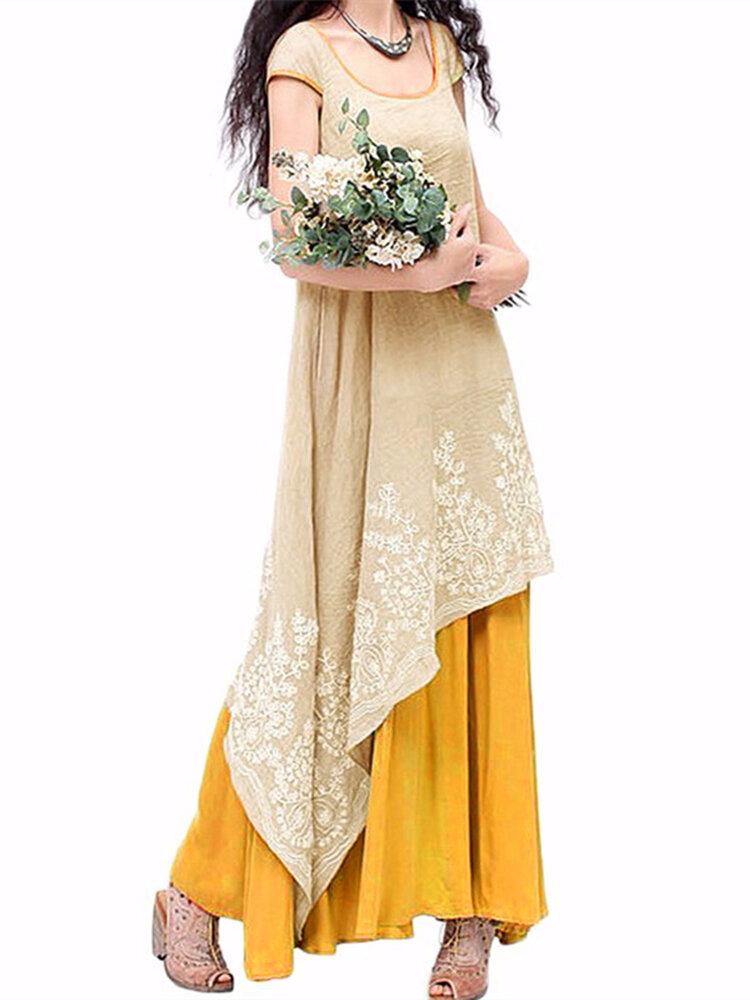 Vintage Kadın O-Neck Çiçek Kestanesi Nakışlı Katmanlı Maxi Elbise