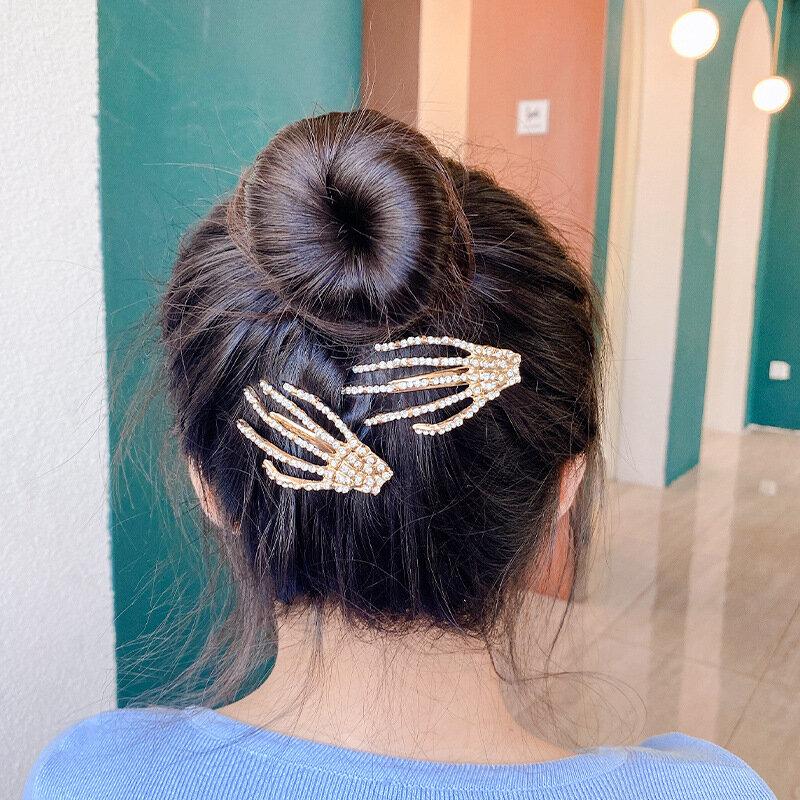 1Pcs Women Hair Accessories Skeleton Claws Skull Hand Hair Clip Hairpin Pins Barrette Halloween Decoration