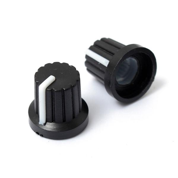 50pcs 6mm Shaft Hole Dia Plastic Threaded knurled Potentiometer Knobs Caps
