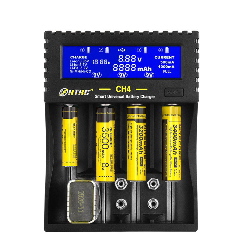 HTRC CH4 Battery Charger Li-ion Li-fe Ni-MH Ni-CD Smart Fast Charger for 18650 26650 6F22 9V AA AAA 16340 14500 Battery  - buy with discount