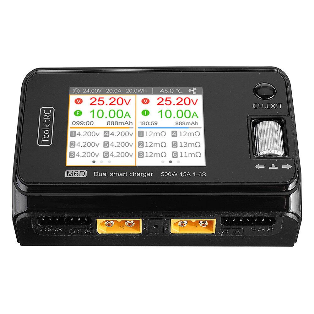 Картинка - ToolkitRC M6D 500 Вт 15A Высокой мощности постоянного тока с двумя интеллектуальными зарядными устройствами для 1-6S Lip