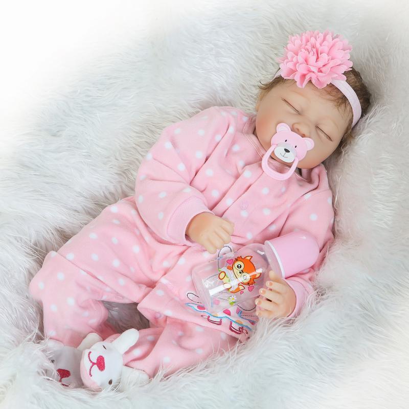 22''Handmade Lifelike Baby Girl Doll Silicone Vinyl Reborn Newborn Dolls Clothes