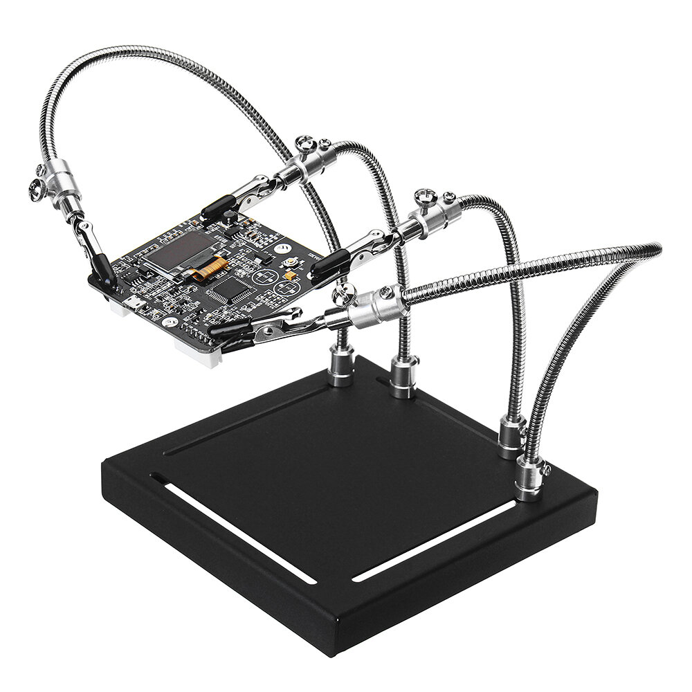 YP-001 Metal Base Universal 4 Flexible Arms Soldering Station PCB Fixture Helping Hands Four Hand UPGRADE VERSION