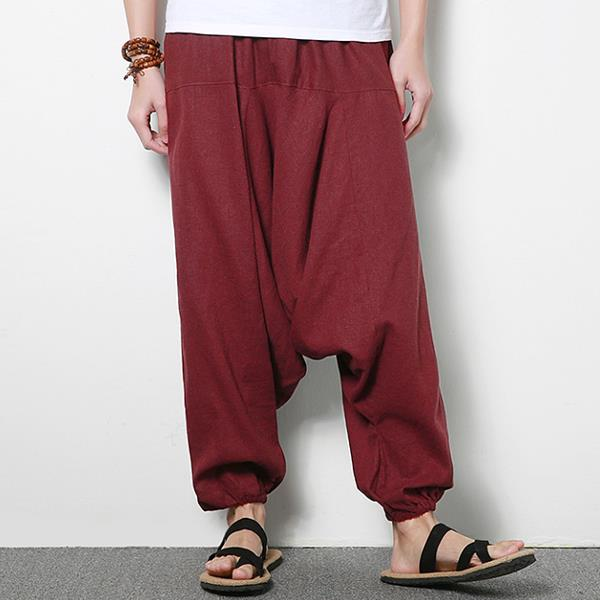 a09f78dee8 Men's Cotton Linen Harem Pants Casual Baggy Loose Trousers Fashion Wide  Legs Trousers - Wine Red L COD
