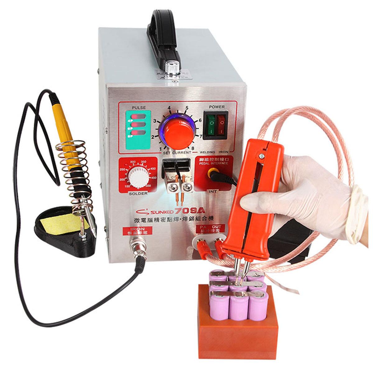 SUNKKO 70 9 ए 1.9 किलोवाट स्पॉट वेल्ड.एर सोल्डरिंग स्टेशन वेल्डिंग मशीन + फोन नोटबुक 18650 लिथियम बैटरी के लिए