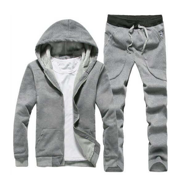 Mens Thick Casual Sport Joggers Solid Color Set Fashion Tracksuit Suit Hoodies Sweatshirts Pants - 3