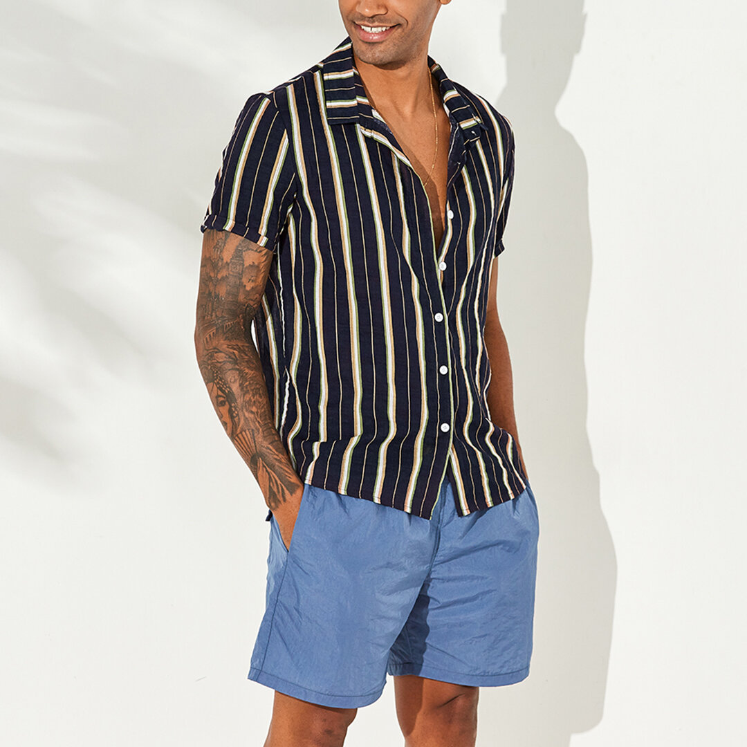 Mens Vertical Striped Summer Short Sleeve Casual Fashion Shirts - 6