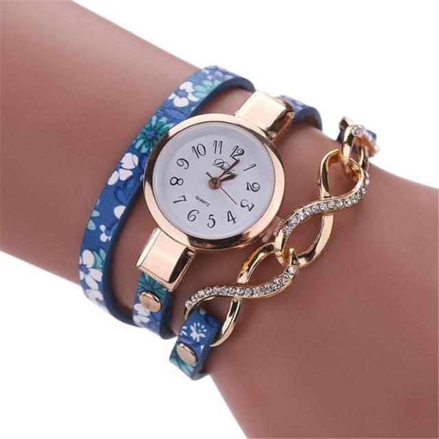 DUOYA D060 Rose Gold Case Shining Design Women Bracelet Watch Retro Style Quartz Watch