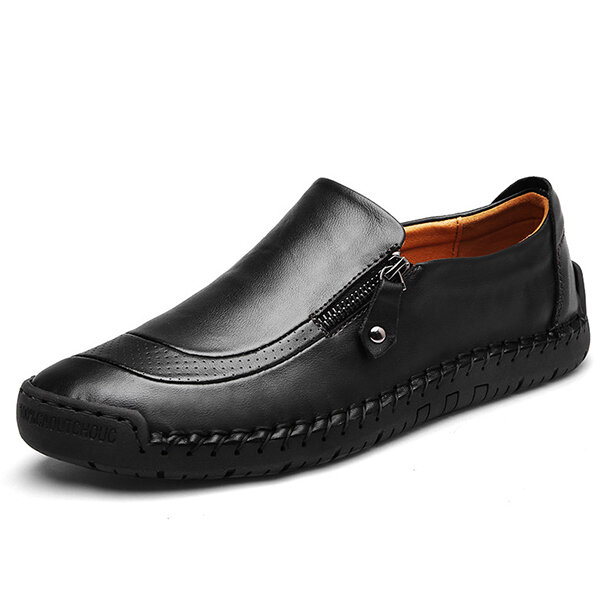 Menico Casual Comfy Soft Moc Toe Slip On Leather Oxfords - 4
