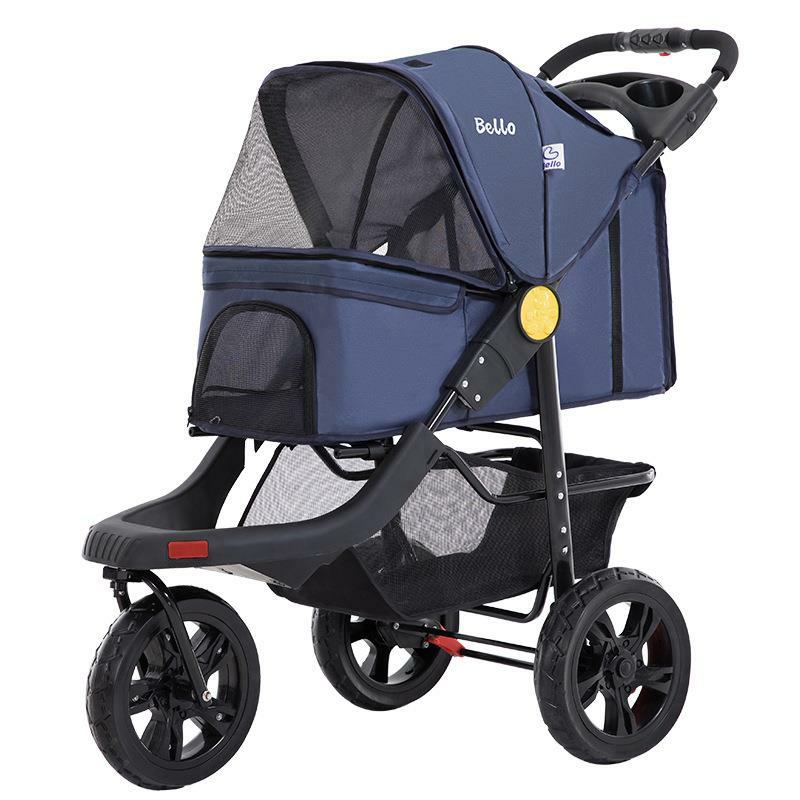Pet Supplies Large Three Wheeles Folding Pet Cart Stroller Cat Dog Outdoor Travel Easy To Carry Cart