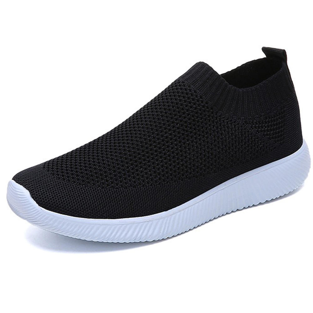 Women Mesh Hook Loop Zipper Wedges Casual Sneakers - 3