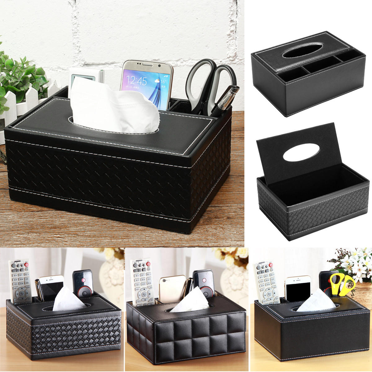 PU Leather Tissue Box Cover Napkin Case Holder Tabletop Organizer Decor