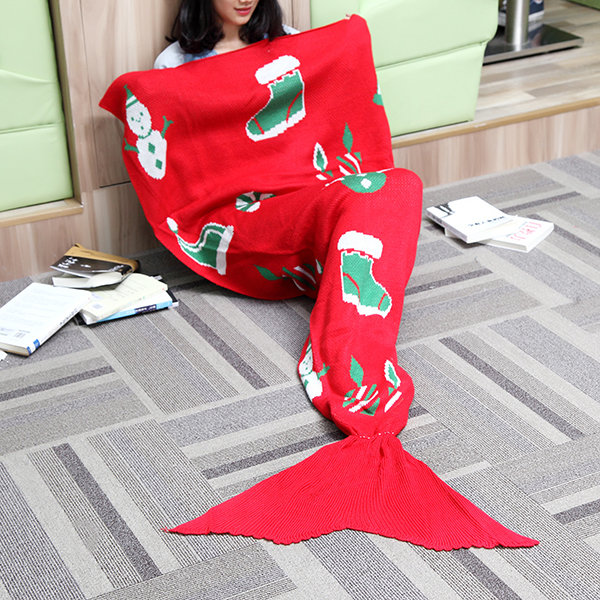 175x90cm Christmas Knitted Mermaid Tail Blanket Handmade Crochet Throw Super Soft Sofa Bed Mat - 1