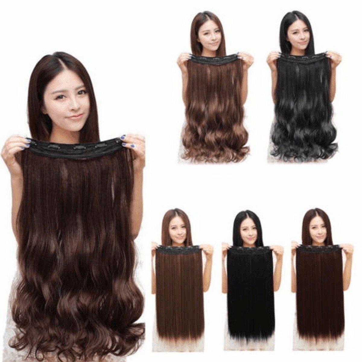 Donne clip nelle estensioni dei capelli ricci lunghi rettilinei con 5 clips - 1