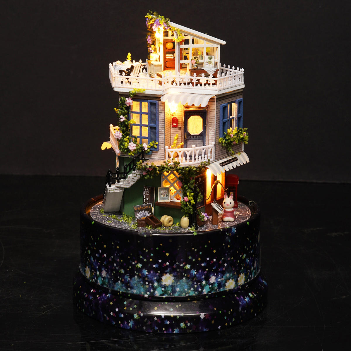Cuteroom 1:24DIY Handicraft Miniature Voice Activated LED Light&Music with Cover Provence Dollhouse - 5