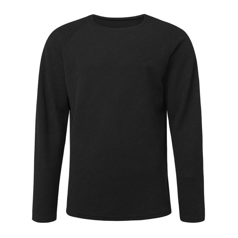 Fashion Men's Knitting Solid Color O Neck T shirt Long Sleeved Regular Fit Casual T shirts - 9
