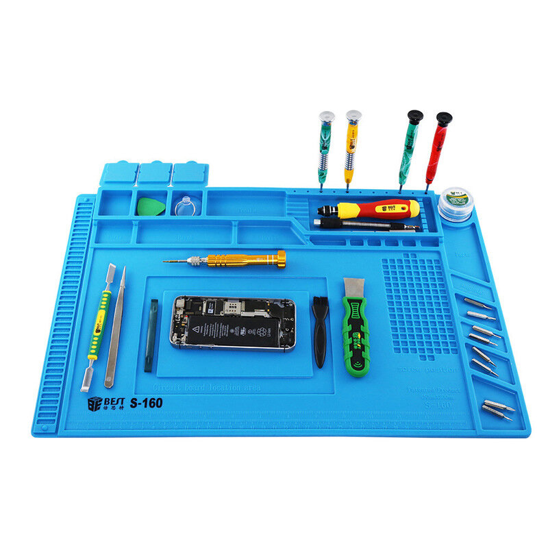 BEST S160 Magnetic Heat Insulation Silicone Pad Desk Mat Maintenance Platform BGA Soldering Repair Station