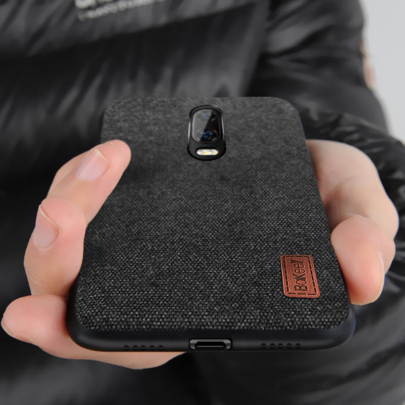 Bakeey Luxury Fabric Splice Soft Silicone Edge Shockproof Protective Case For OnePlus 6T