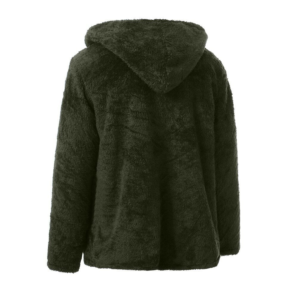 Mens Fashion Casual Fleece warme einfarbige Kapuzen Mäntel - 6