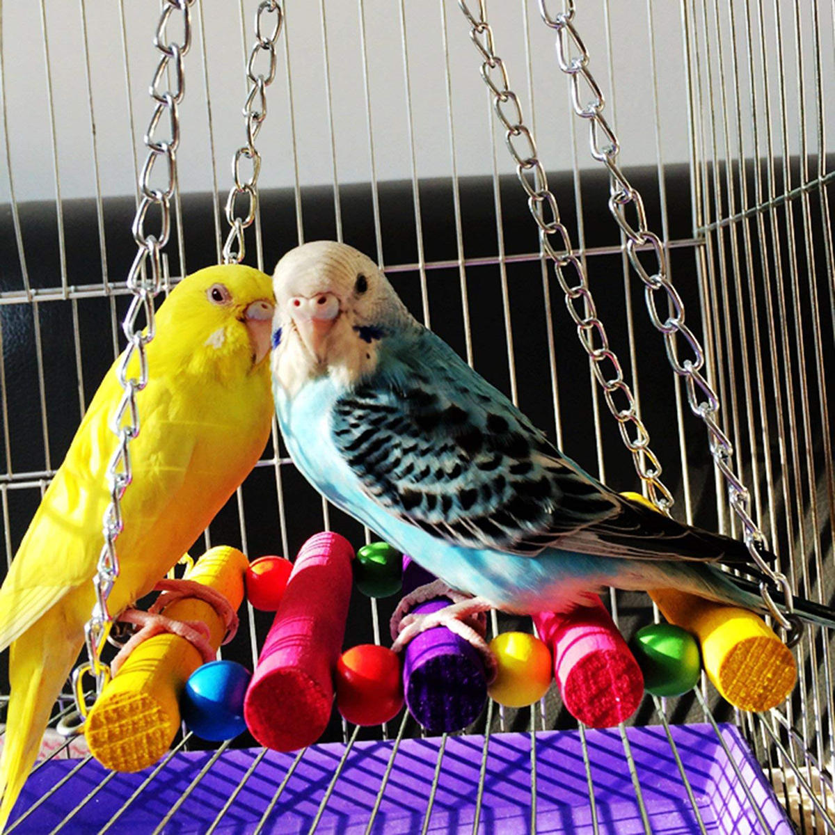 Parrot Toy Colorful Wooden Swing Suspension Bridge Standing Bar Bird Cage Accessories Pet Toys