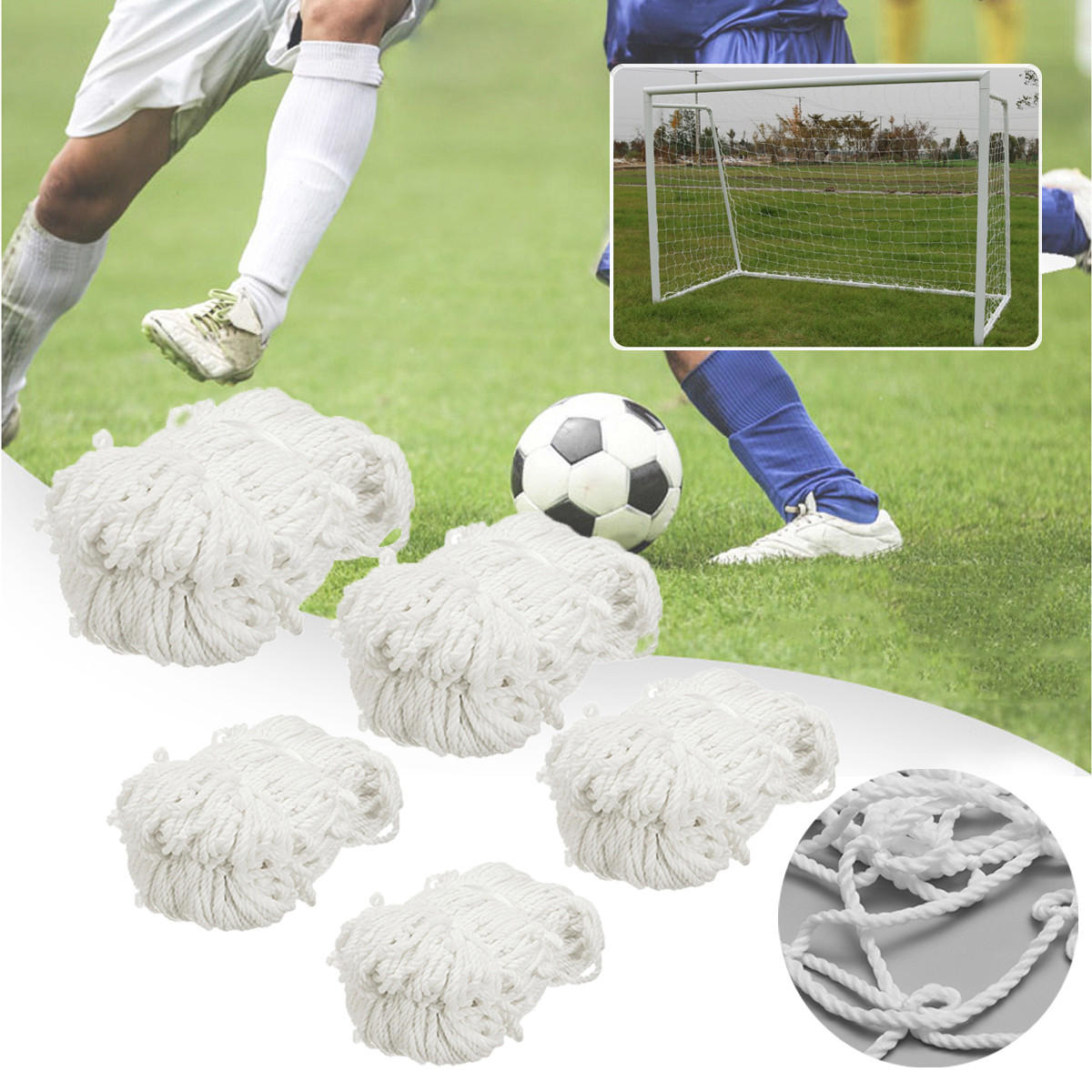 Football Soccer Goal Post Net Training Match Replace Outdoor Full Size Adult Kid - 1