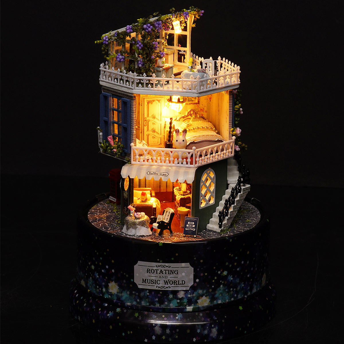 Cuteroom 1:24DIY Handicraft Miniature Voice Activated LED Light&Music with Cover Provence Dollhouse - 4