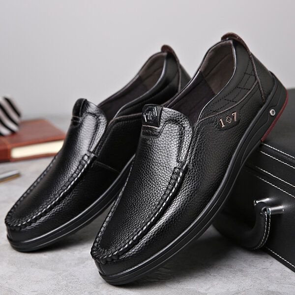 Men Genuine Leather Soft Insole Slip Resistant Casual Business Oxfords - 2