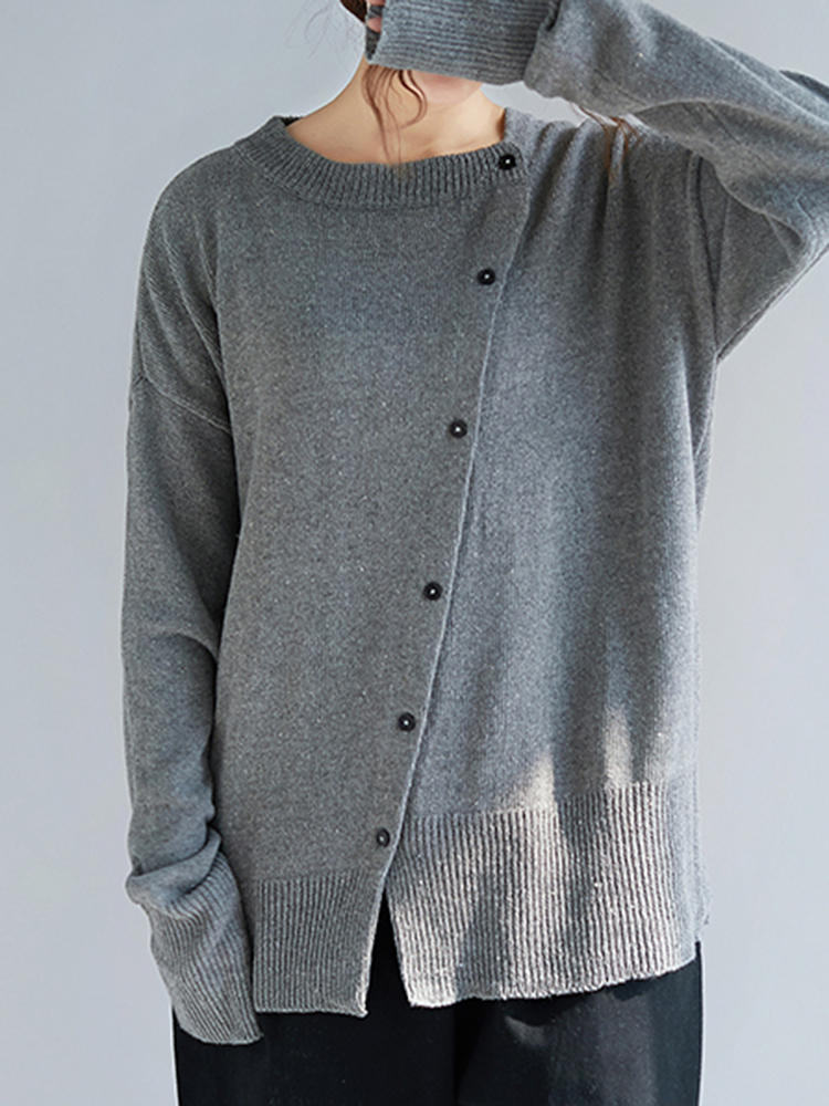 & Women Casual Crew Neck Front Button Loose Sweaters фото