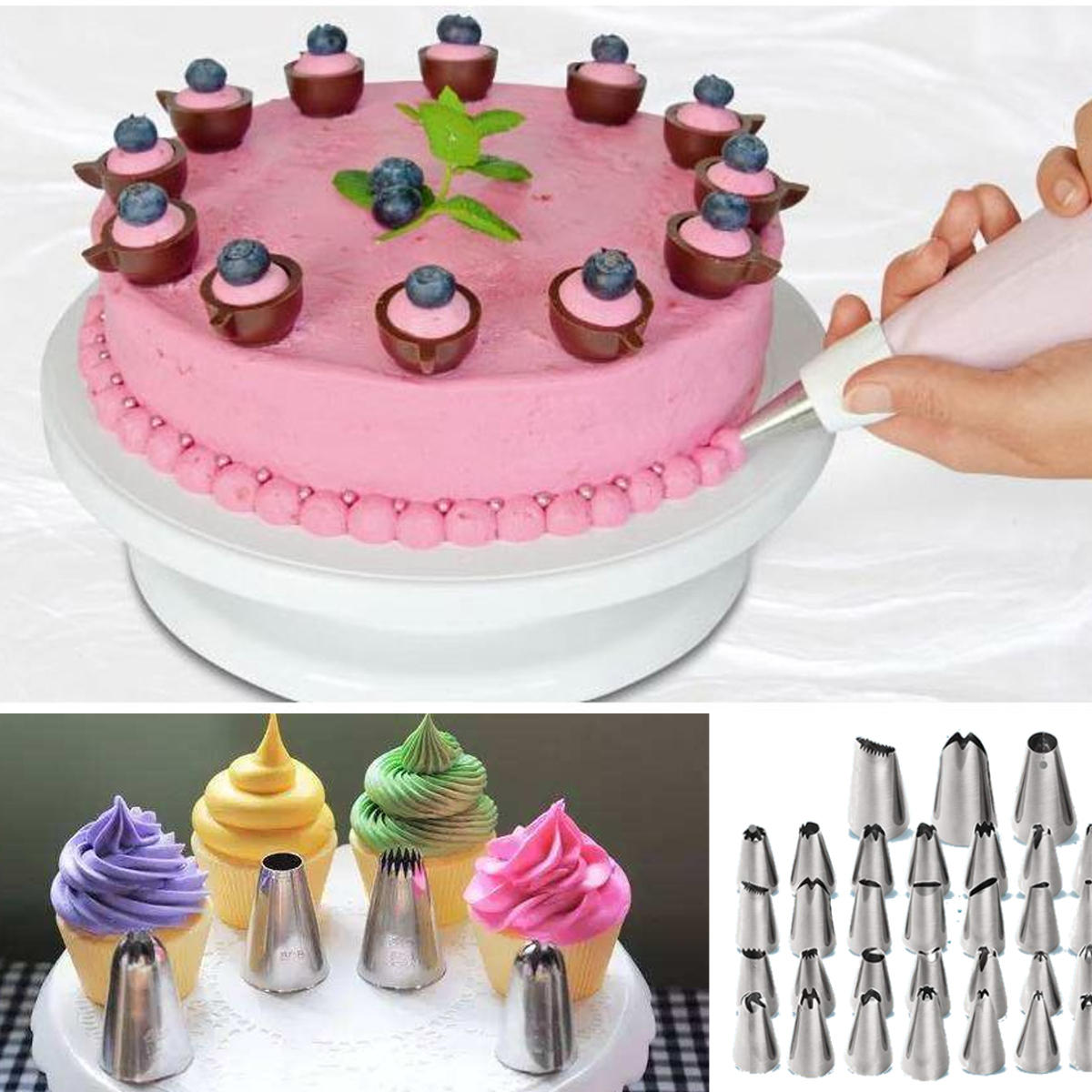 KCASA KC-PN15 7pc/set Silicone Icing Piping Nozzle Cream Pastry Bag Stainless Steel Nozzle Sets Cake DIY Decorating Baking Tool - 11