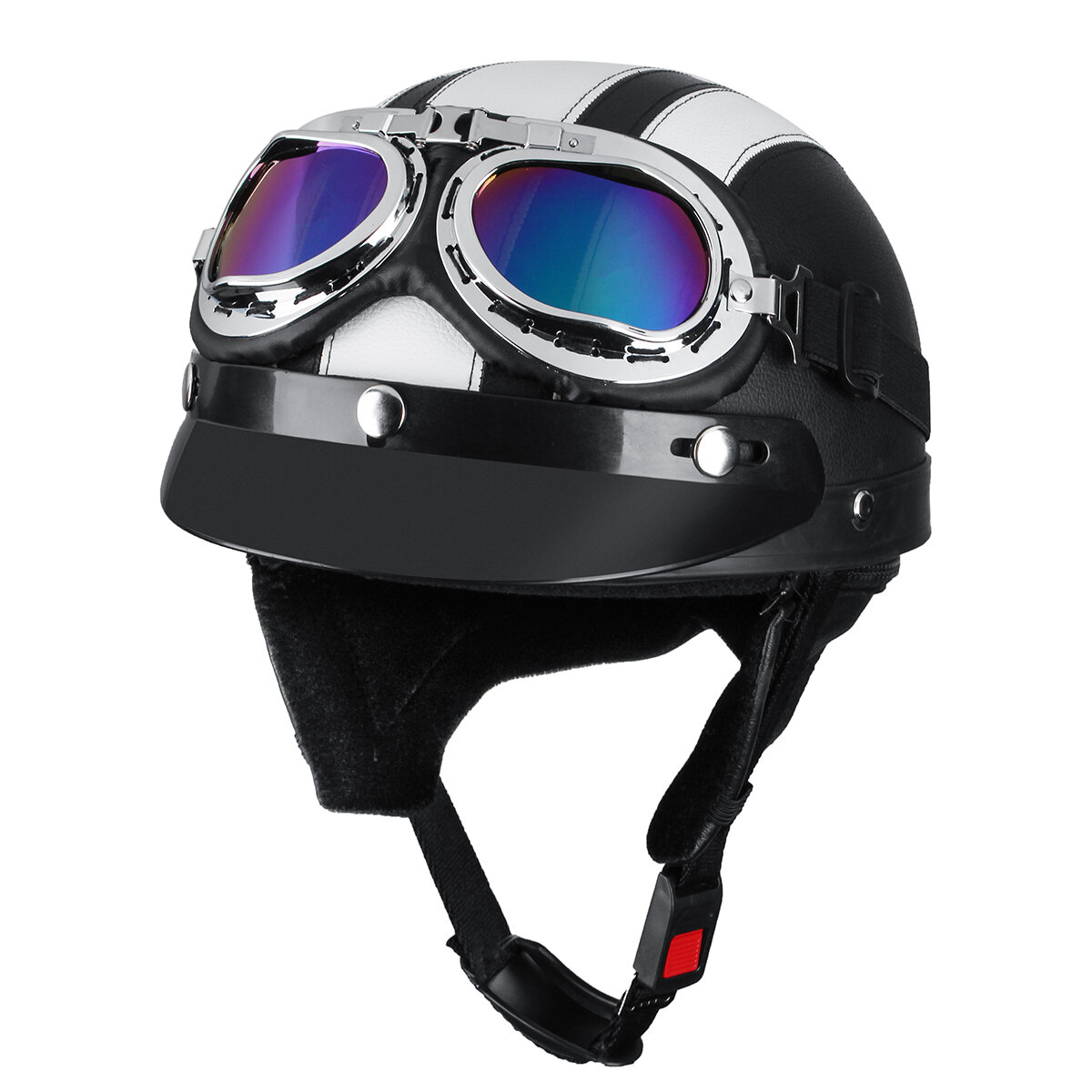 Motorcycle Scooter Half Helmet Hat Open Face Shield Visor With Sun UV Goggles фото